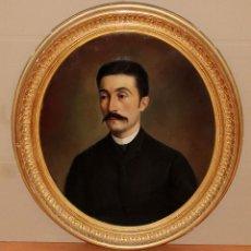 Arte: JAUME PONS MARTI (BARCELONA, 1855 - GIRONA, 1931) OLEO SOBRE TELA DEL AÑO 1884. RETRATO MASCULINO. Lote 293778323