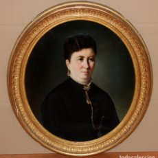 Arte: JAUME PONS MARTI (BARCELONA, 1855 - GIRONA, 1931) OLEO SOBRE TELA DEL AÑO 1884. RETRATO FEMENINO. Lote 293778588