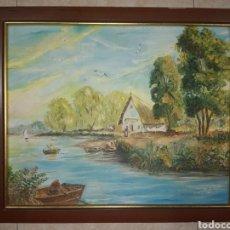 Arte: ANTIGUO CUADRO PINTADO SOBRE TABLA FIRMADO . (MARY C.G. 2.81) MEDIDAS 46× 38. Lote 293917058
