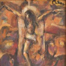 Arte: EDUARDO PISANO (1912/1986) - LE CHRIST EN CROIX - HUILE SUR PANNEAU - SIGNÉ. Lote 293971513