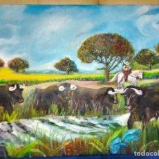 Arte: DEHESA CON TOROS. ESTILO NAIF. LIENZO 73X54. FIRMADO.. Lote 293976038