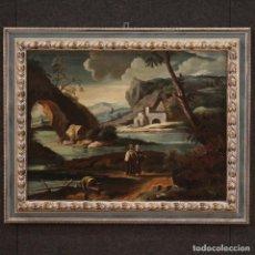 Arte: PINTURA ANTIGUA DE PAISAJE CON PERSONAJES DEL SIGLO XVIII.. Lote 294176648