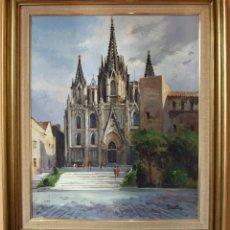Arte: JORDI SERRAT BALASCH - TARADELL (GIRONA) , 1935 LA CATEDRAL DE BARCELONA ÓLEO. Lote 295274208