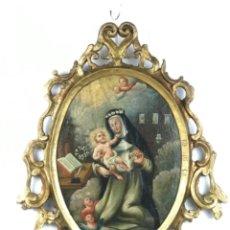 Arte: ~SANTA ROSA DE LIMA~ ESCUELA COLONIAL ~VIRREINATO NUEVA ESPAÑA SG XVII/XVIII~ MARCO ORIGINAL. Lote 295296768
