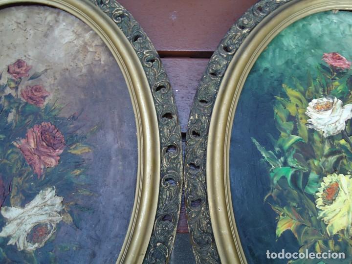 Arte: magnifico oleo sobre tabla FLORES firmado E. REIRIZ 1972 ovalado enmarcado mide 72x57cm. marco oro - Foto 18 - 181613496