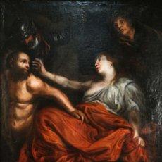 Arte: ÓLEO SOBRE LIENZO LA CAPTURA DE SANSÓN ESCUELA ITALIANA SIGLO XVII. Lote 295351158