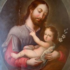 Arte: ÓLEO SOBRE COBRE S. XVII, S. JOSÉ CON EL NIÑO. DIM.- 31X26 CMS.ESC BARROCA SEVILLANA CÍRCULO MURILLO. Lote 295366703