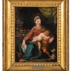 Arte: ÓLEO COBRE VIRGEN CON NIÑO Y SAN JUANITO ATRIBUIDO A LAMBERT SUSTRIS AMSTERDAM 1515 VENECIA 1591. Lote 295417113