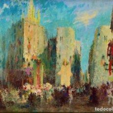Arte: CORPUS EN LA PLAZA NUEVA DE BARCELONA. FIRMADO. JOSEP AGUILERA. ÓLEO SOBRE LIENZO. ESPAÑA. 1956. Lote 295452723