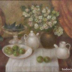 "Arte: PINTURA ""BODEGÓN DE SOBREMESA"", H. 1987, POR LUIS CAJAL GARRIGÓS (ZARAGOZA 1926 - TORREVIEJA 2015). Lote 295474273"