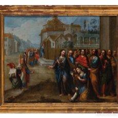 Arte: ÓLEO COBRE PARÁBOLA DE LA MUJER ADÚLTERA ESCUELA MEJICANA SIGLO XVIII. Lote 295480703