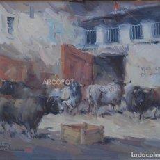 Arte: ANTIGUA PINTURA - ÓLEO - FIRMADO J.S. ILEGIBLE - MAS CORNÁS DA ER AMBRE - ENMARCADO. Lote 295629688