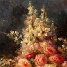 Arte: ANTONIA FERRERAS I BERTRAN (LÉRIDA, 1873 - BARCELONA, 1935) OLEO SOBRE TELA. FLORES. 85 X 52 CM.. Lote 295908538