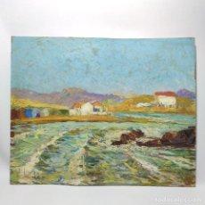 Arte: MUY BELLA Y COLORIDA OBRA DE RAMÓN ALONSO LUZZY. PUEBLO COSTERO. OLEO SOBRE TABLEX. 41 X 33 CM.. Lote 295912773