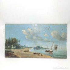 Arte: BELLA TABLA CON ESCENA COSTUMBRISTA PESQUERA. PLAYA CON PESCADORES Y RUINAS DE CASTILLO. FIRMADO LMM. Lote 295916028