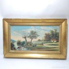 Arte: BELLA TABLA CON ESCENA COSTUMBRISTA CAMPESTRE. VAQUERO CON GANADO JUNTO AL RÍO. FIRMADO LMM. 1882.. Lote 295916898
