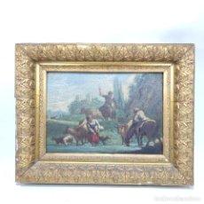 Arte: BELLA TABLA ESCENA COSTUMBRISTA. OBRA GOYESCA. PASTORA Y GANADEROS EN EL RÍO. SIGLO XVIII.. Lote 295934343