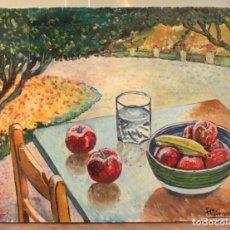 Arte: BODEGÓN PINTADO AL OLEO SOBRE LIENZO, ESCUELA VALENCIANA, FIRMADO TABERNER 46X38CM. Lote 295996908
