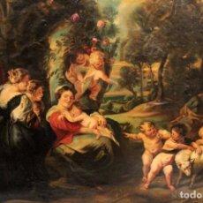 Arte: ESCUELA ESPAÑOLA S.XVIII LA VIRGEN CON EL NIÑO JESÚS, ÁNGELES. CON MARCO DORADO 150X113CM. Lote 296000438
