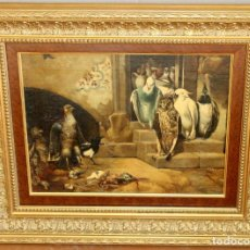 Arte: ANDRES CASTAÑO SERRANO (YECLA, MURCIA, 1894-?) OLEO SOBRE TELA FECHADO EN GIJON DEL AÑO 1913. AVES. Lote 296058623