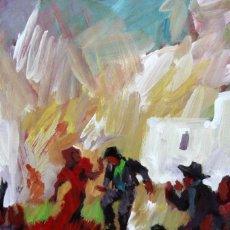 Arte: JOSEP FONT SELLABONA (1928-2010) TECNICA MIXTA SOBRE CARTON. ESCENA GITANA. Lote 296913398