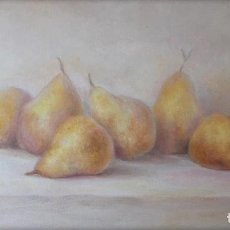 Arte: CUADRO AL ÓLEO CON PERAS. BODEGÓN MODERNO FIRMADO POR EL AUTOR.. Lote 297150953