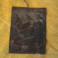 Arte: PINTURA RELIGIOSA SOBRE LAMINA DE COBRE SIGLO XVI - XVII . MEDIDAS 6,5 CM. X 9 CM.. Lote 3600094
