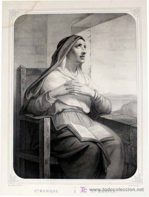 GRABADO LITOGRÁFICO - SANTA MÓNICA - L. TURGIS - PARÍS - PP. S. XX (Arte - Arte Religioso - Grabados)