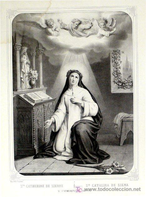 GRABADO LITOGRÁFICO - SANTA CATALINA DE SIENA - L. TURGIS - PARÍS - PP. S. XX (Arte - Arte Religioso - Grabados)