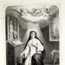 Arte: GRABADO LITOGRÁFICO - SANTA CATALINA DE SIENA - L. TURGIS - PARÍS - PP. S. XX. Lote 26626734