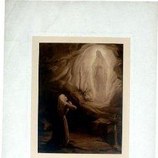 Arte: GRABADO LITOGRÁFICO - MUJER REZANDO A LA VIRGEN DE LOURDES - PP. S. XX. Lote 10326448
