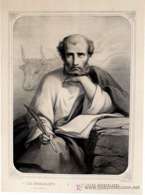 GRABADO LITOGRÁFICO - SAN LUCAS EVANGELISTA - FDO. LASNIER - L. TURGIS - PARÍS - PP. S. XX (Arte - Arte Religioso - Grabados)