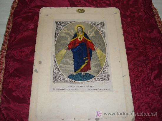 LITOGRAFIA LAS CINCO CICATRICES DE JESUS,DRUCH VERLAG UEIGENTHUM V E G MAY SOHNE IN FRANKFURT A M (Arte - Arte Religioso - Litografías)