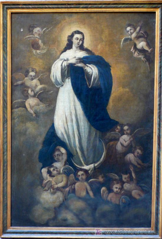 VIRGEN PURÍSIMA. ÓLEO SOBRE TELA. S. XIX (Arte - Arte Religioso - Pintura Religiosa - Oleo)