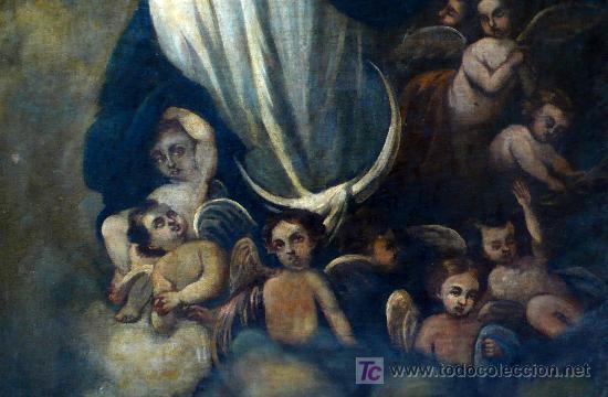Arte: virgen purísima. óleo sobre tela. s. XIX - Foto 2 - 26603365
