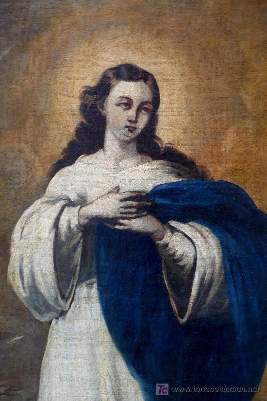 Arte: virgen purísima. óleo sobre tela. s. XIX - Foto 3 - 26603365