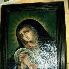Arte: ANTIGUO OLEO Y MARCO. PINTURA DE VIRGEN SOBRE LIENZO. MEDIDAS 64X52X3,5 CM. AÑO 1800. Lote 23167842