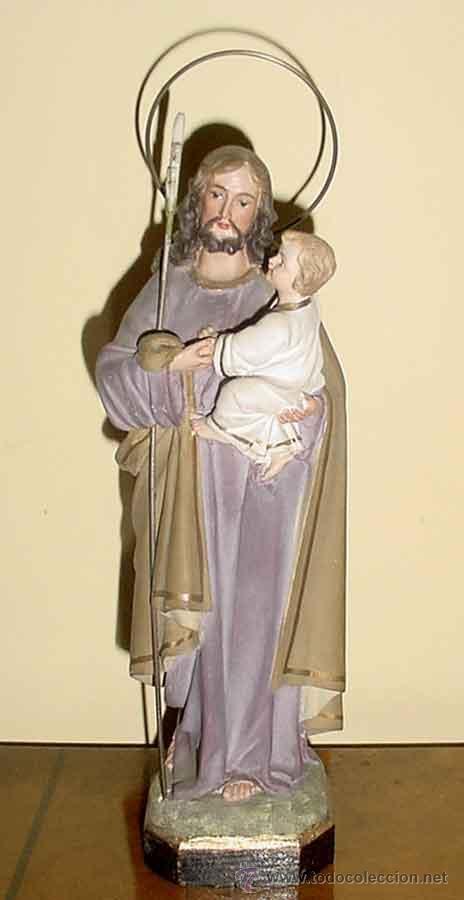 SAN JOSE, ANTUGUA ESCULTURA DE SAN JOSE CON EL NIÑO JESUS -OLOT AÑOS 50 -TIENE UNA EXPRESIÓN (Arte - Arte Religioso - Escultura)
