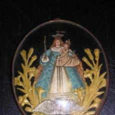 Arte: VIRGEN - GRABADO Y BORDADO CON UN MARCO DE METAL Y CRISTAL OVALADO, S.XIX, . Lote 23917476