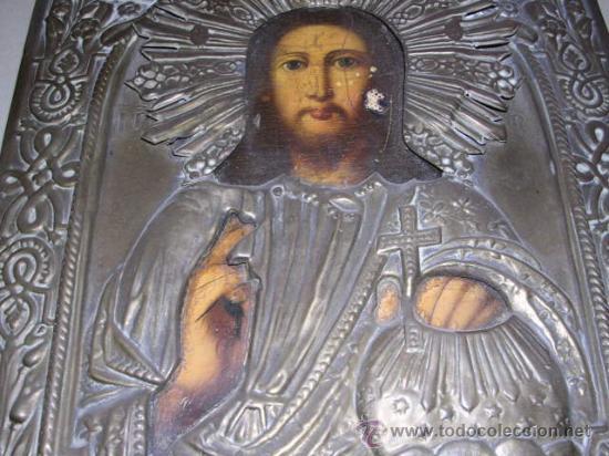 Arte: ICONO RUSO.MADERA Y METAL S. XIX.-23X18,5 CM .SEÑALES DE USO DEL TIEMPO. - Foto 3 - 21630029