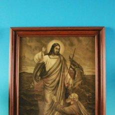 Arte: PRECIOSA !!! LITOGRAFIA JESÚS CAMINA SOBRE LAS AGUAS, CON SU MARCO ORIGINAL,DE 1900/10. Lote 9080423