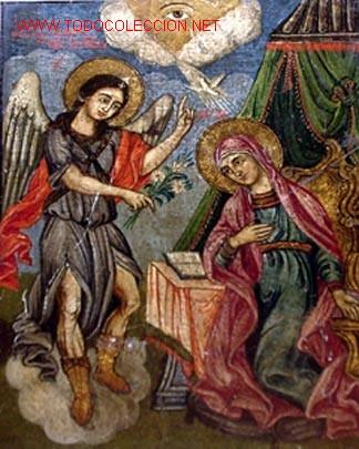 BELLISIMA ANUNCIACION.ICONO PINTADO EN TABLA.TEMPERA. GRECIA PRINCIPIOS SIGLO XIX. (Arte - Arte Religioso - Iconos)