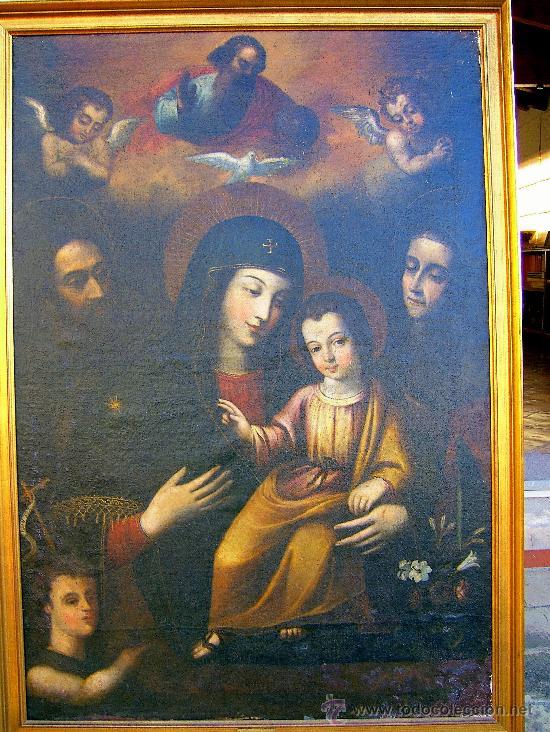 PINTURA ESPAÑOLA SIGLO XVII. LA SAGRADA FAMILIA. CERTIFICADO. NUEVO PRECIO. (Arte - Arte Religioso - Pintura Religiosa - Oleo)