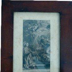 Arte: ANUNCIACIÓN - GRABADO AL AGUAFUERTE CON MARCO DE CAOBA - SIGLO XIX. Lote 24886665