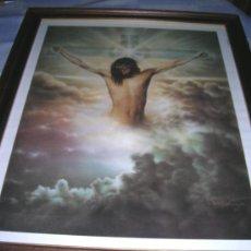 Arte: ANTIGUO CUADRO DE JESÚS CRUCIFICADO. LAMINA CON MARCO Y CRISTAL.. Lote 26350383