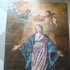 Arte: GRAN CUERO PINTADO POR LAS DOS CARAS. ASCENSION DE LA VIRGEN Y SAN PEDRO. SIGLO XVIII-XIX. Lote 26248924