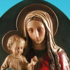 Arte: IMPRESIONANTE - VIRGEN CON NIÑO - ,RELIEVE DE GRAN TAMAÑO PARA COLGAR,ESTUCO,ALEMANIA 1900 (BRD). Lote 12293269