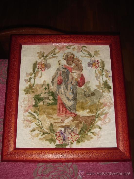 PRECIOSO.S. JOSÉ. MUY ANTIGUO.BORDADO.CARA Y MANOS DE FIELTRO.VER FOTOS. (Arte - Arte Religioso - Pintura Religiosa - Oleo)