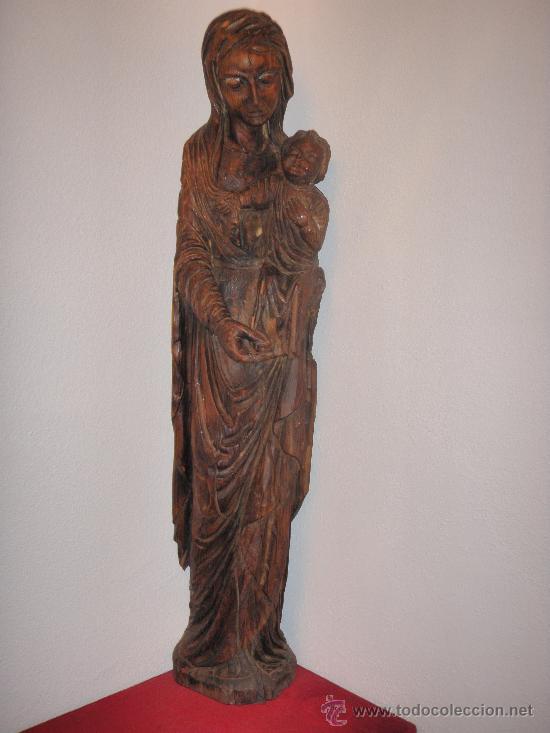 VIRGEN CON NIÑO - TALLA ANTIGUA - 110 X 20 X 30 CMS - TALLA DE VIRGEN CON NIÑO (Arte - Arte Religioso - Escultura)