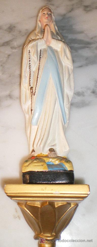 VIRGEN DE LOURDES CON PEANA (Arte - Arte Religioso - Escultura)